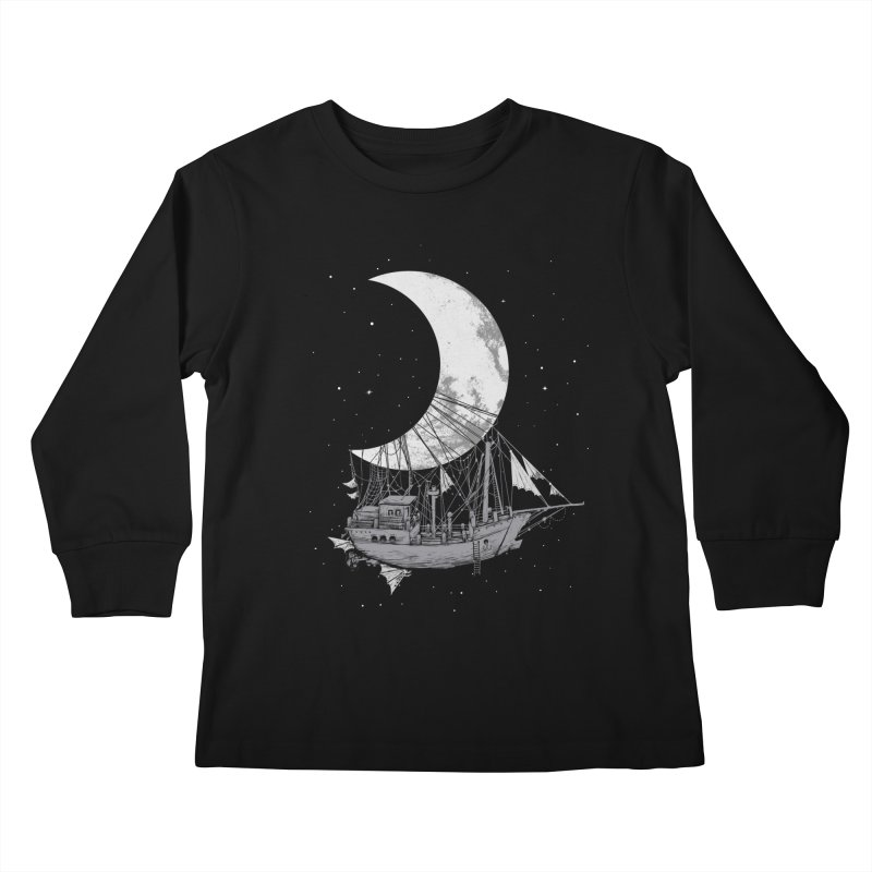 Moon Ship Kids Longsleeve T-Shirt by digital carbine