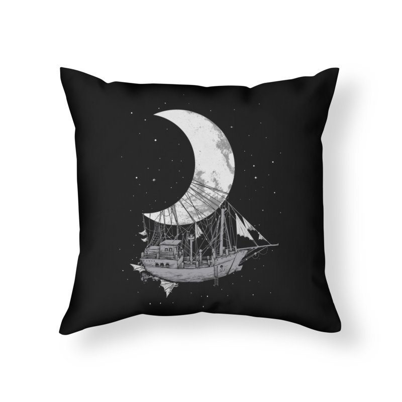 Moon Ship Home Throw Pillow by digital carbine