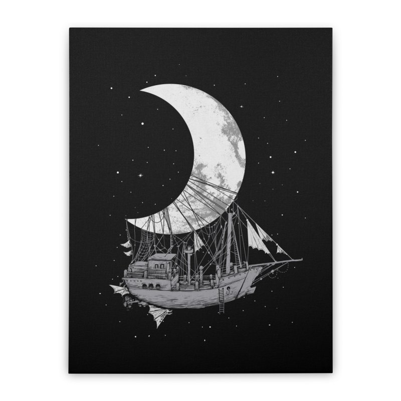 Moon Ship Home Stretched Canvas by digital carbine