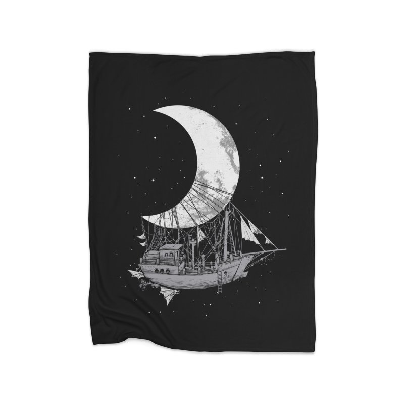 Moon Ship Home Fleece Blanket Blanket by digital carbine