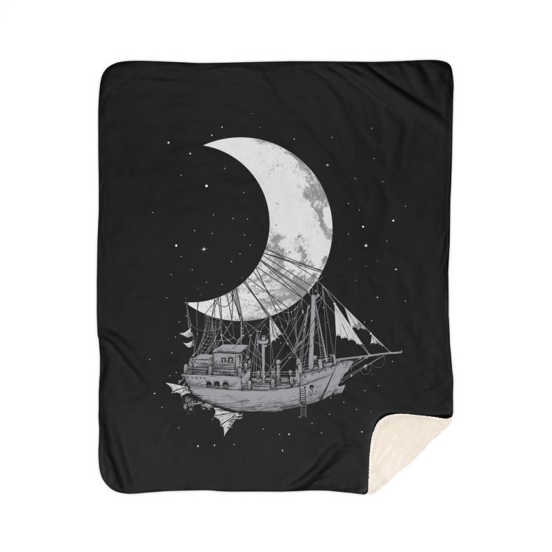 Moon Ship Home Sherpa Blanket Blanket by digital carbine