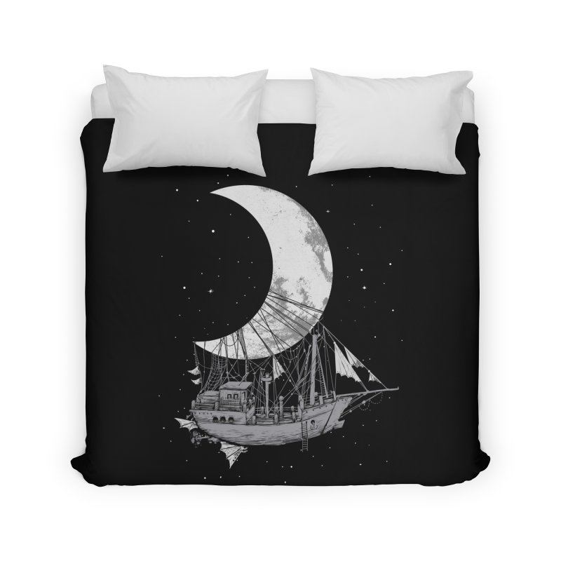 Moon Ship Home Duvet by digital carbine