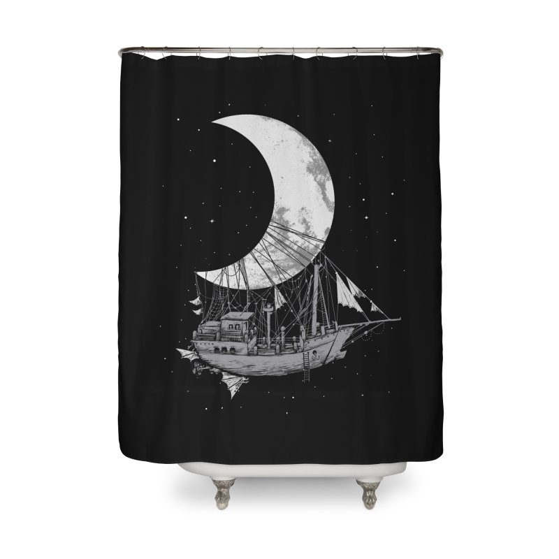 Moon Ship Home Shower Curtain by digital carbine