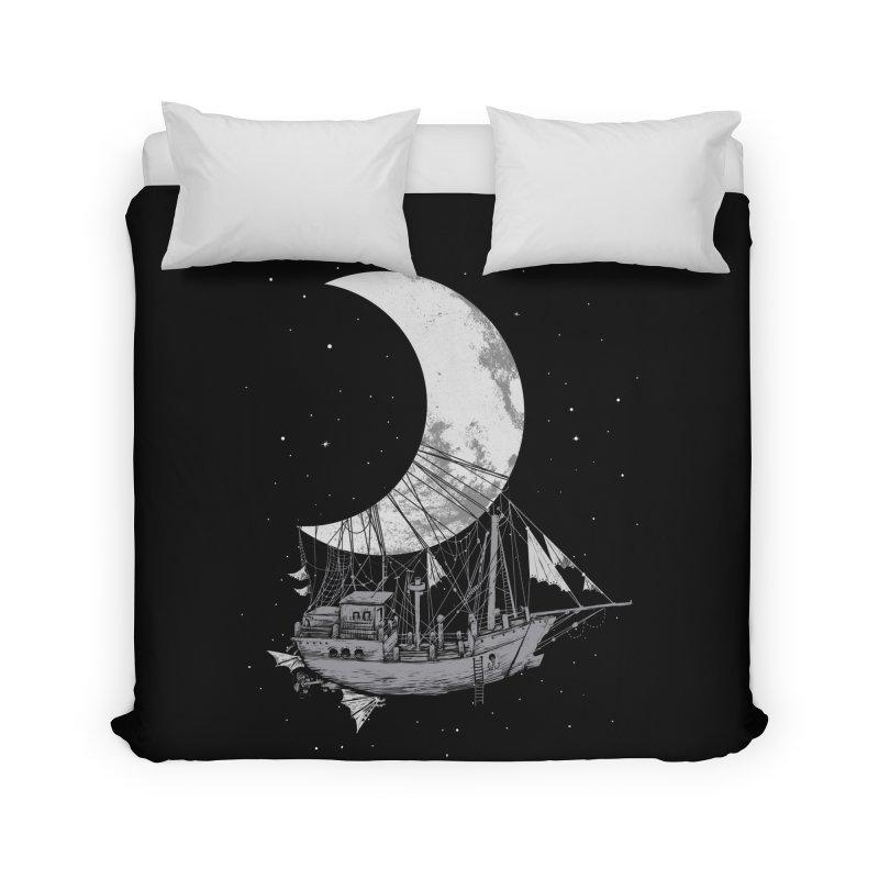 Moon Ship Home Duvet by digital carbine