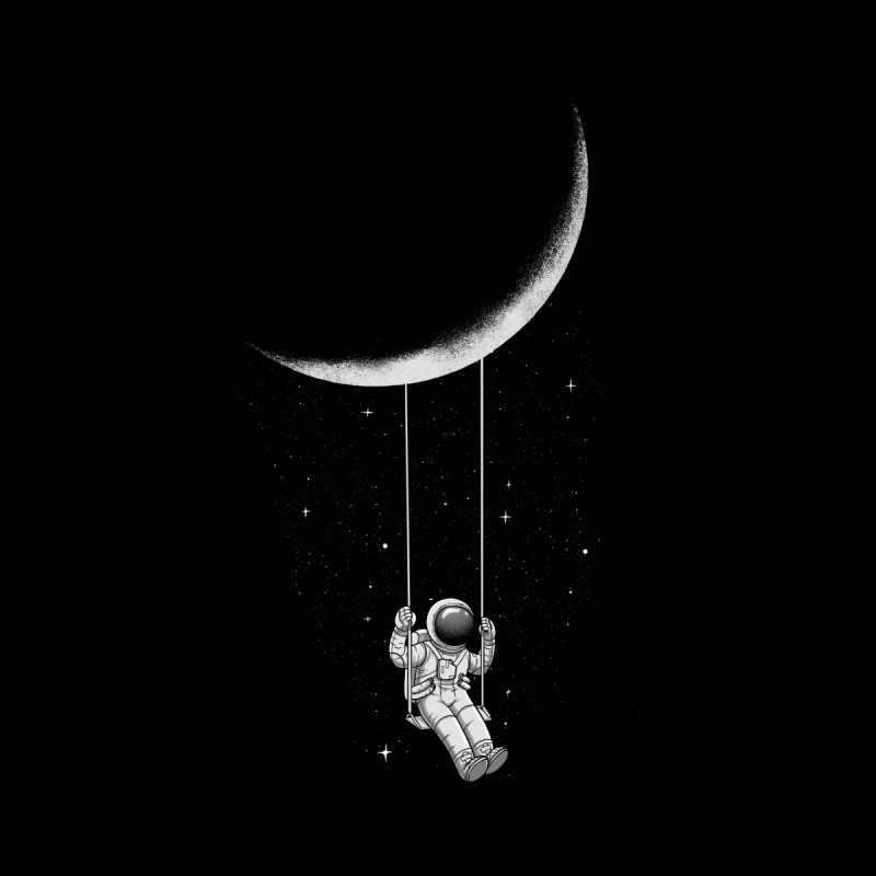 Moon Swing Home Throw Pillow by digital carbine