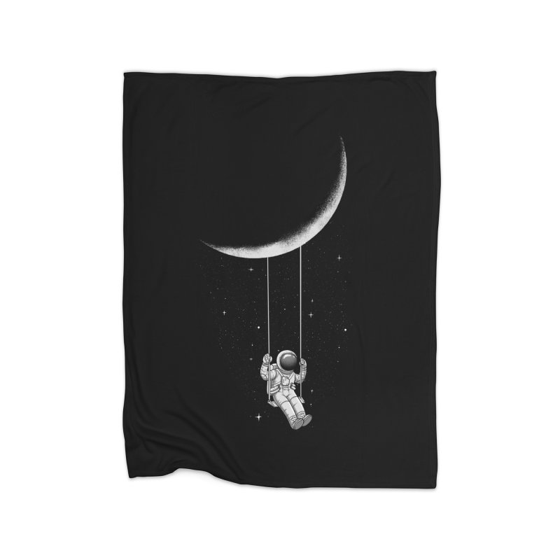 Moon Swing Home Fleece Blanket Blanket by digital carbine