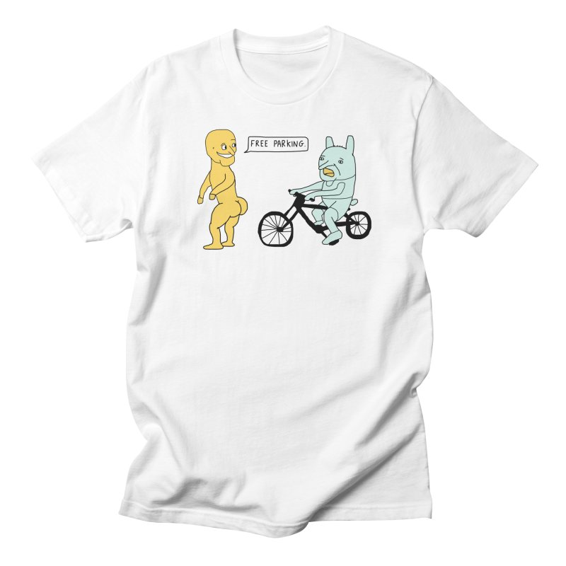 Yellow Naked Man Offers Free Parking to a Worried Green Creature Men's T-shirt by Dikvandie