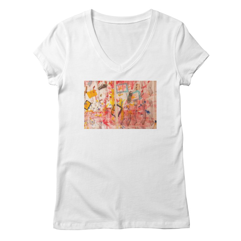 Composition in Red and Yellow Women's Regular V-Neck by dimmerlight's Artist Shop
