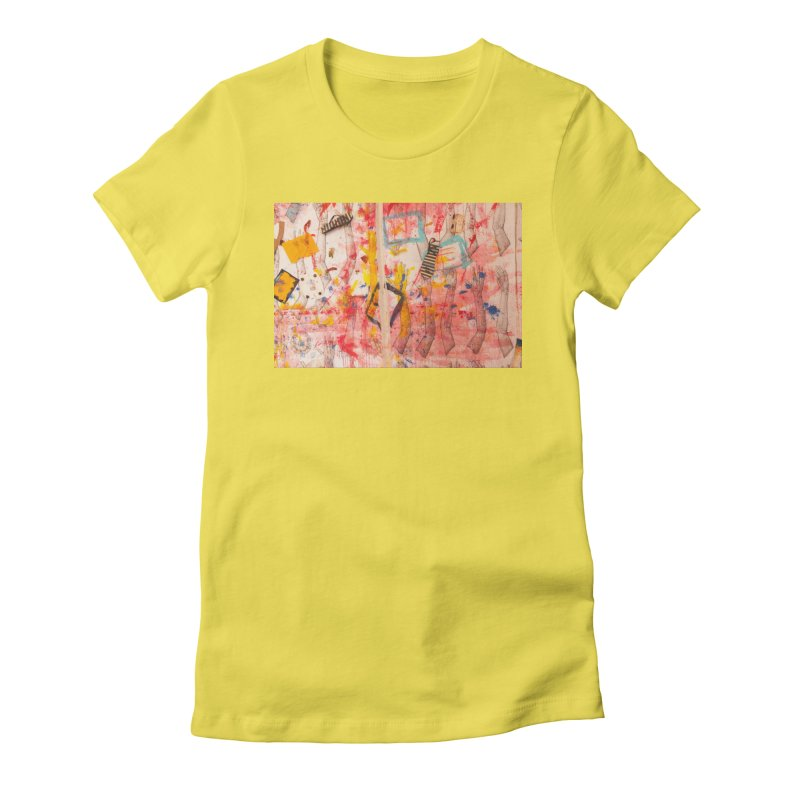 Composition in Red and Yellow Women's Fitted T-Shirt by dimmerlight's Artist Shop