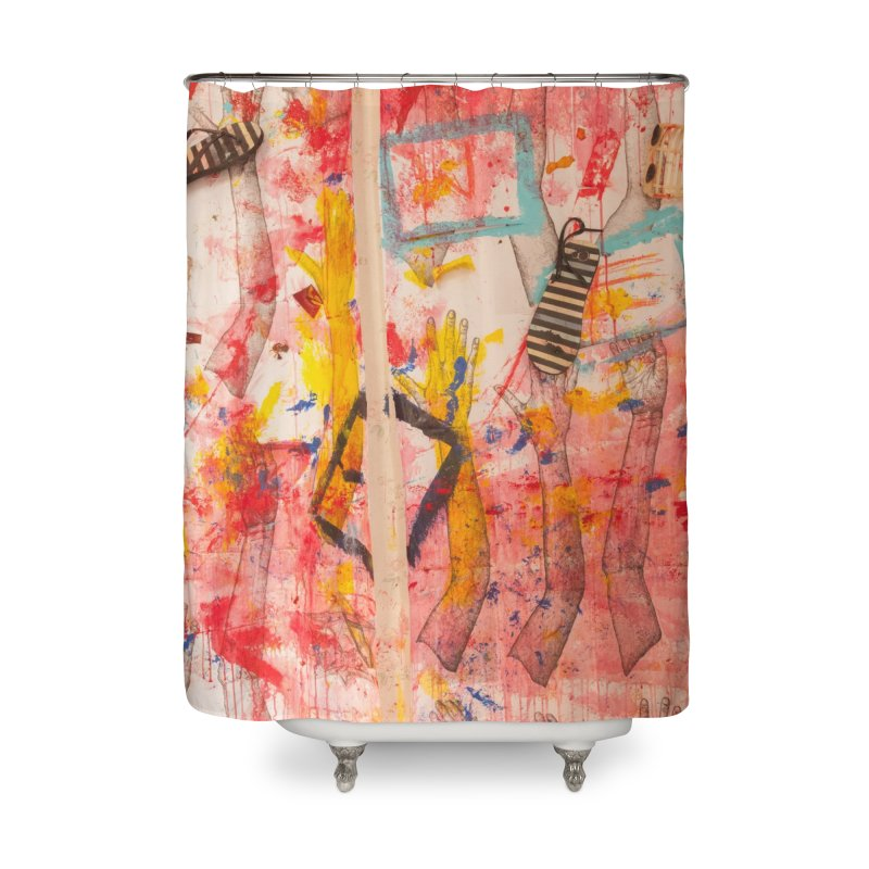 Composition in Red and Yellow Home Shower Curtain by dimmerlight's Artist Shop