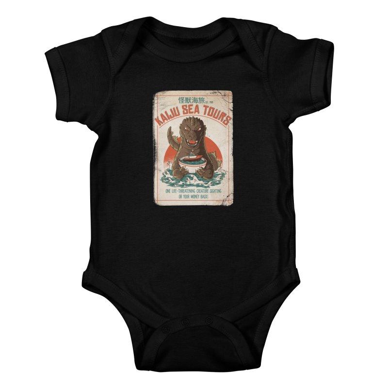 Kaiju Sea Tours Kids Baby Bodysuit by DinoMike's Artist Shop