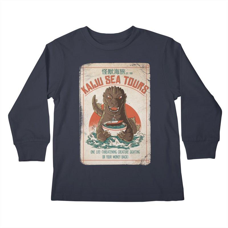 Kaiju Sea Tours Kids Longsleeve T-Shirt by DinoMike's Artist Shop