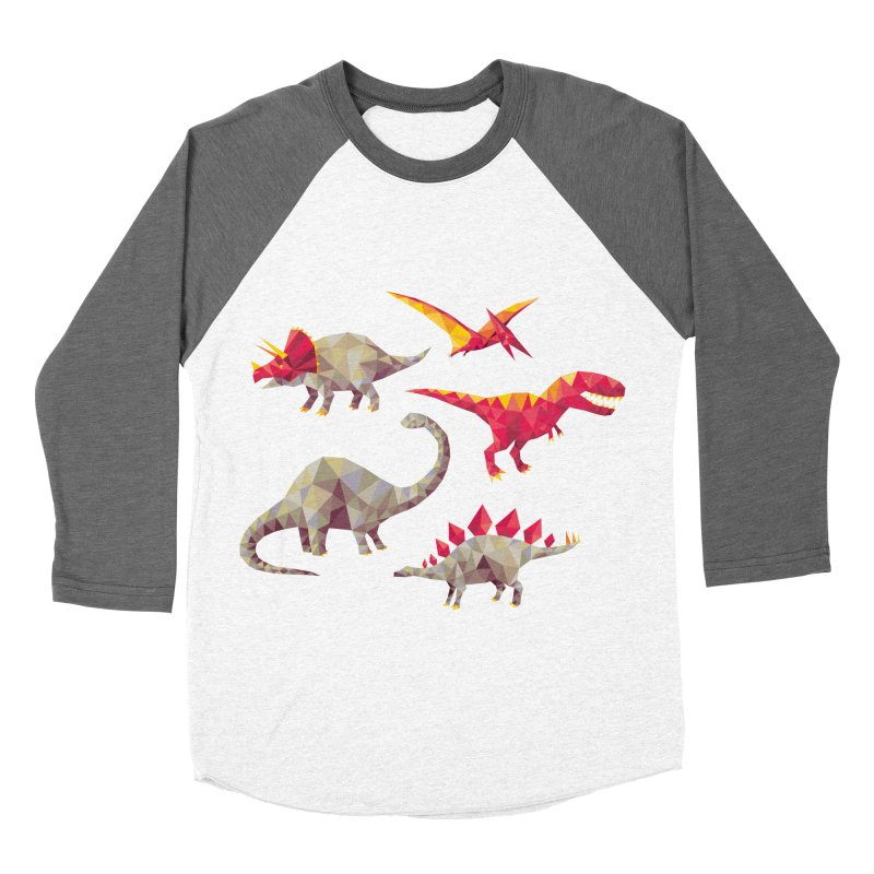 Geo Saurs Women's Baseball Triblend T-Shirt by DinoMike's Artist Shop
