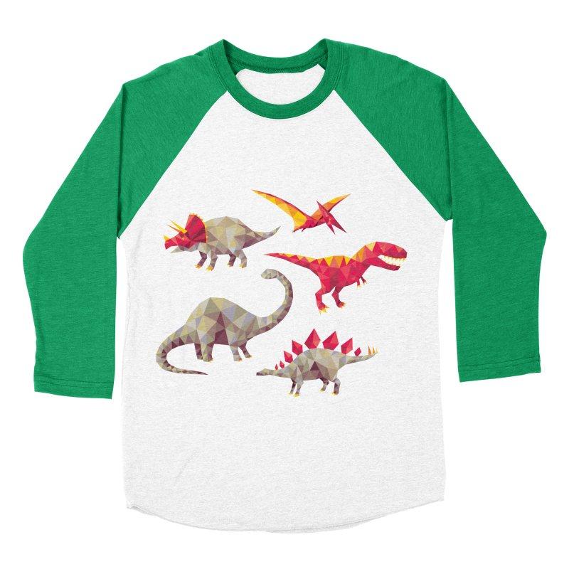 Geo Saurs Women's Baseball Triblend Longsleeve T-Shirt by DinoMike's Artist Shop
