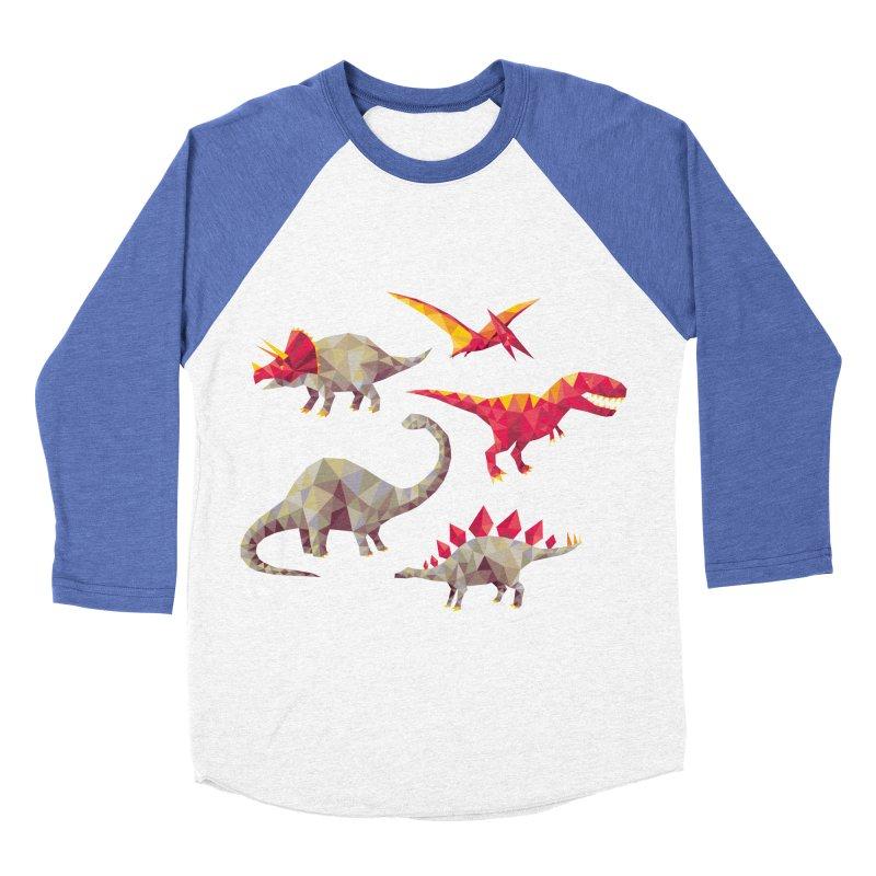 Geo Saurs Men's Baseball Triblend T-Shirt by DinoMike's Artist Shop