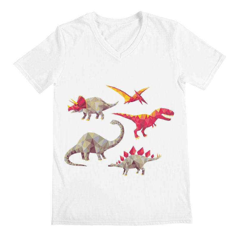 Geo Saurs Men's Regular V-Neck by DinoMike's Artist Shop