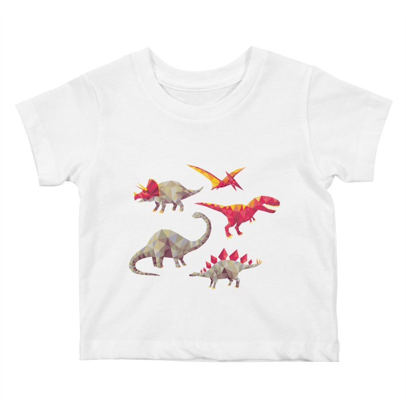 Geo Saurs Kids Baby T-Shirt by DinoMike's Artist Shop