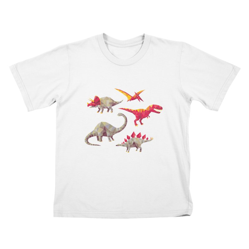 Geo Saurs Kids T-Shirt by DinoMike's Artist Shop