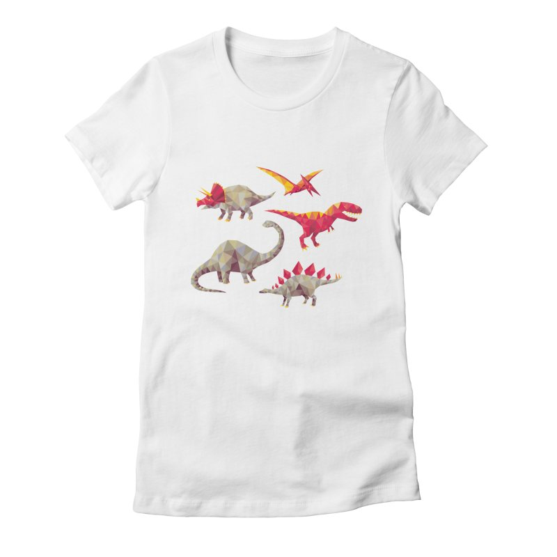 Geo Saurs Women's Fitted T-Shirt by DinoMike's Artist Shop
