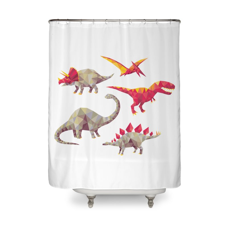 Geo Saurs Home Shower Curtain by DinoMike's Artist Shop
