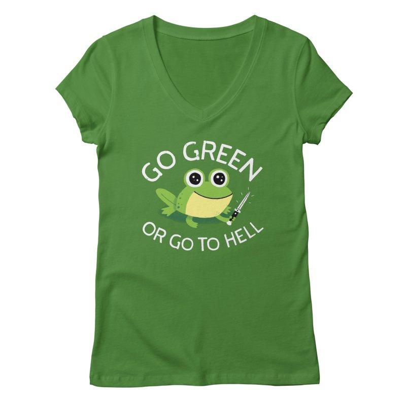 Go Green Women's V-Neck by DinoMike's Artist Shop