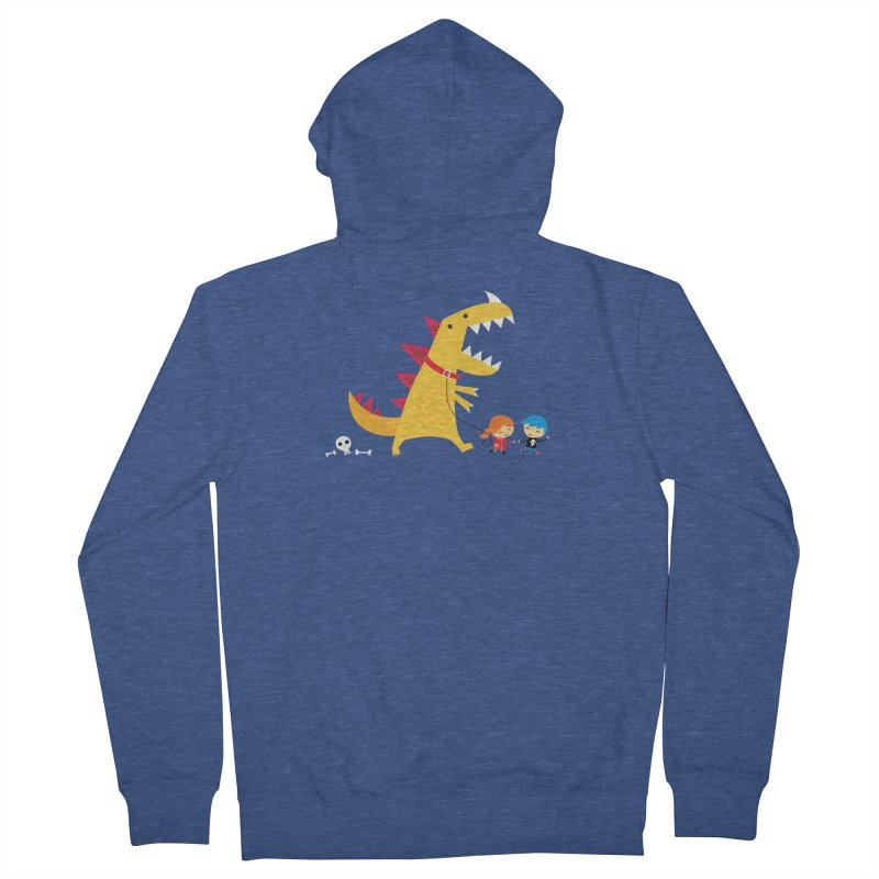 Dino Walk Women's French Terry Zip-Up Hoody by DinoMike's Artist Shop