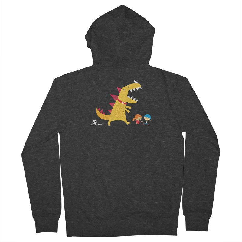 Dino Walk Men's French Terry Zip-Up Hoody by DinoMike's Artist Shop