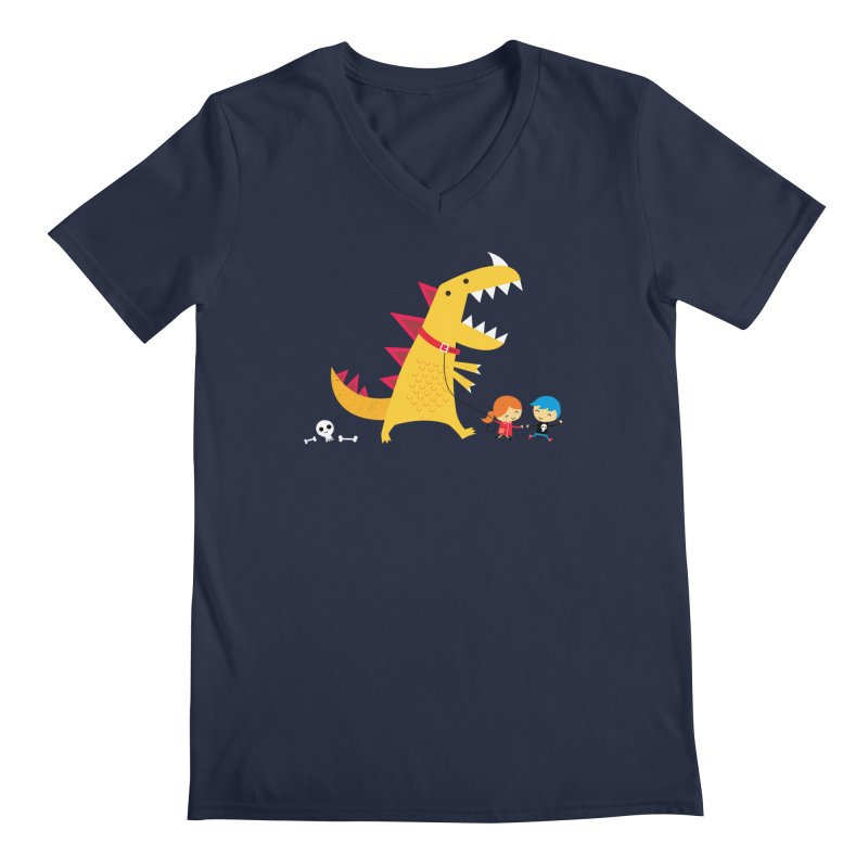 Dino Walk Men's V-Neck by DinoMike's Artist Shop