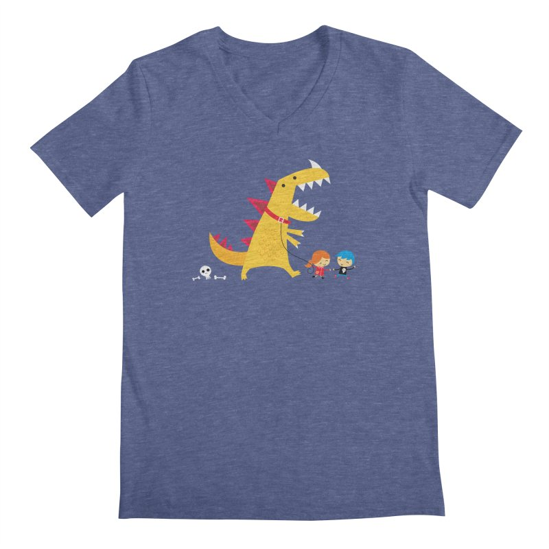 Dino Walk Men's Regular V-Neck by DinoMike's Artist Shop
