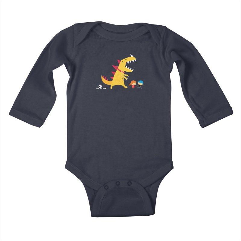 Dino Walk Kids Baby Longsleeve Bodysuit by DinoMike's Artist Shop