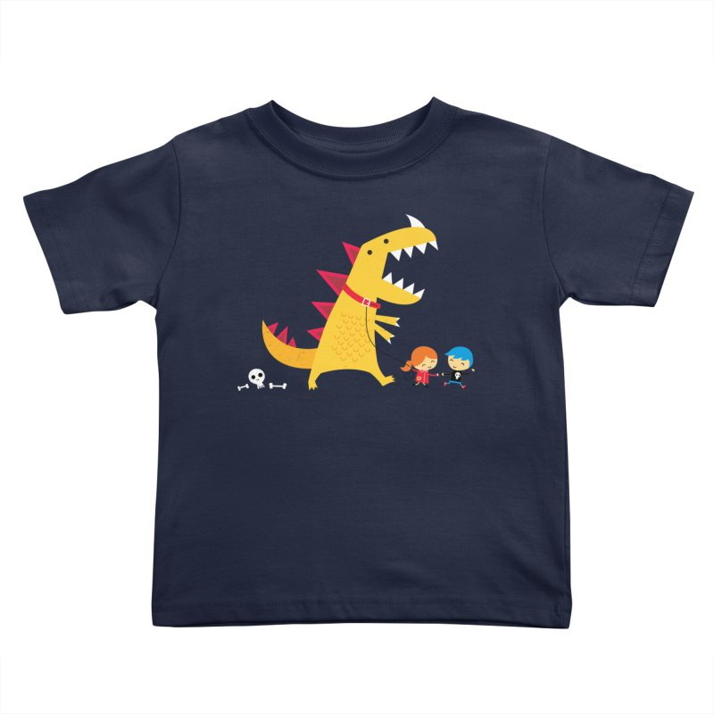 Dino Walk Kids Toddler T-Shirt by DinoMike's Artist Shop