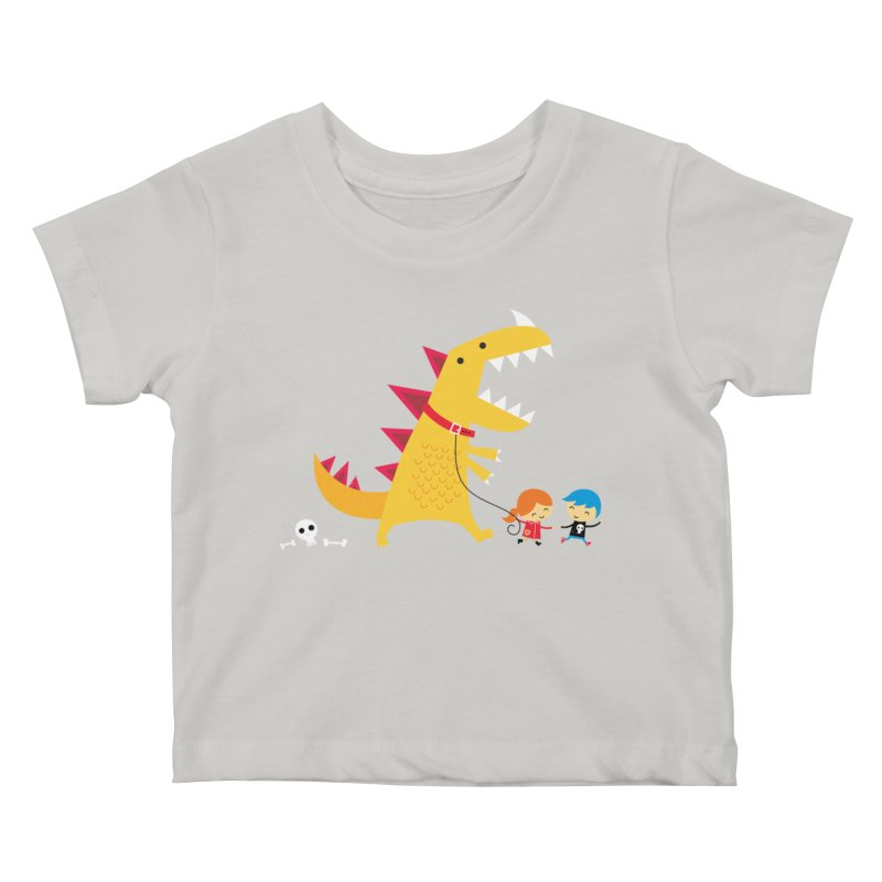 Dino Walk Kids Baby T-Shirt by DinoMike's Artist Shop