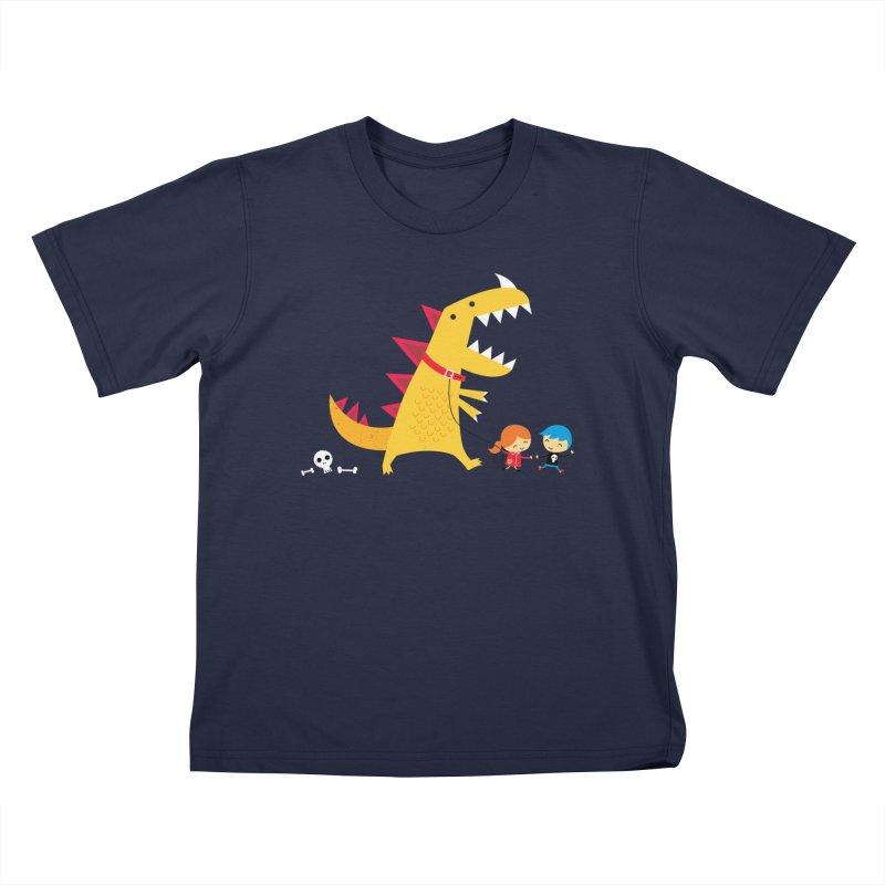 Dino Walk Kids Toddler T-Shirt by DinoMike's Artist Shop