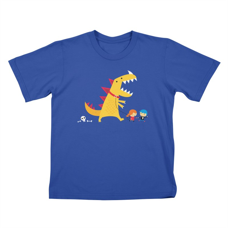 Dino Walk Kids T-shirt by DinoMike's Artist Shop