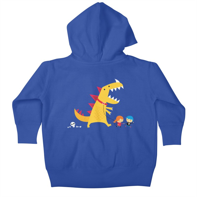 Dino Walk Kids Baby Zip-Up Hoody by DinoMike's Artist Shop