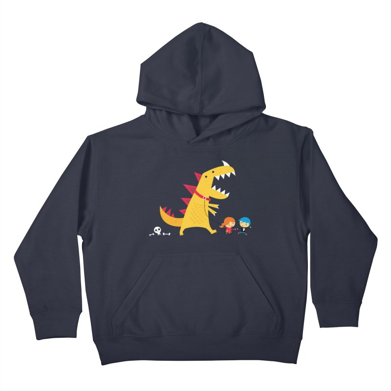 Dino Walk Kids Pullover Hoody by DinoMike's Artist Shop