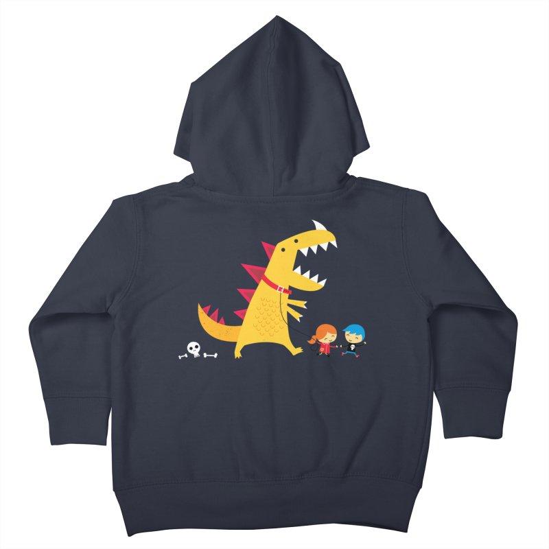 Dino Walk Kids Toddler Zip-Up Hoody by DinoMike's Artist Shop