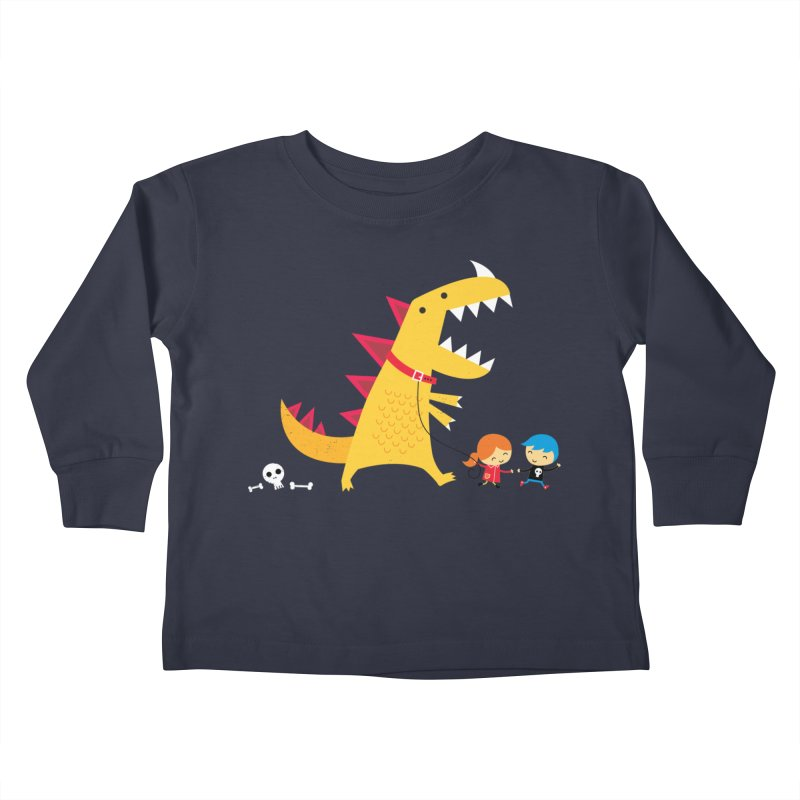 Dino Walk Kids Toddler Longsleeve T-Shirt by DinoMike's Artist Shop