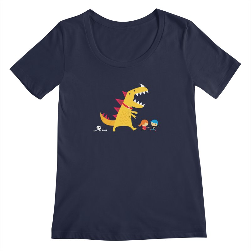 Dino Walk Women's Scoopneck by DinoMike's Artist Shop