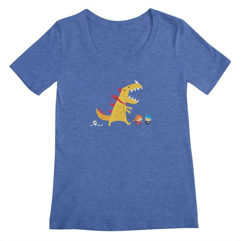 Dino Walk Women's Scoopneck by DinoMike's Artist Shop