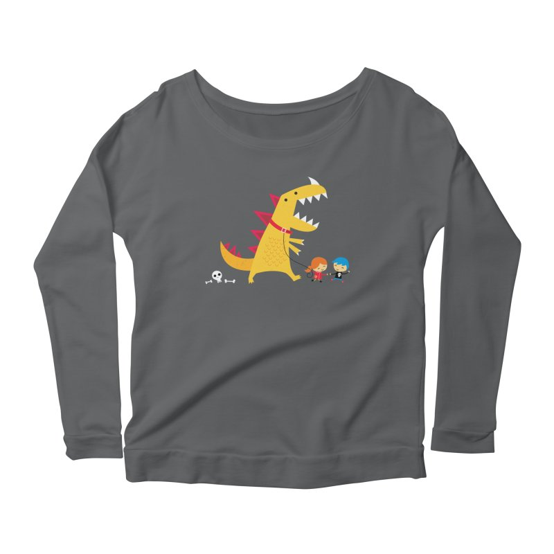 Dino Walk Women's Scoop Neck Longsleeve T-Shirt by DinoMike's Artist Shop