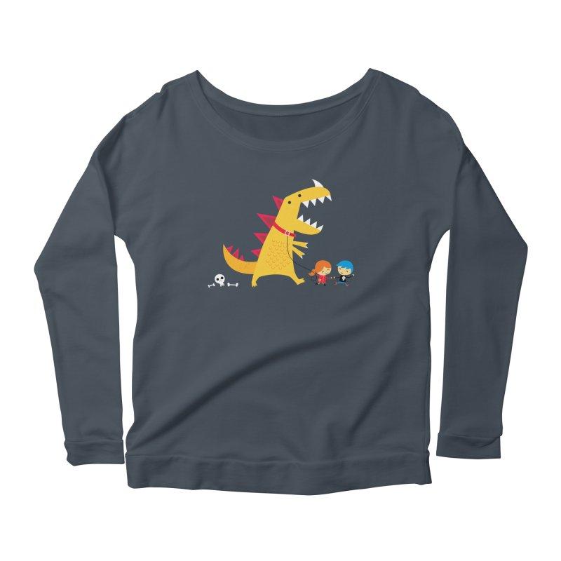 Dino Walk Women's Longsleeve Scoopneck  by DinoMike's Artist Shop