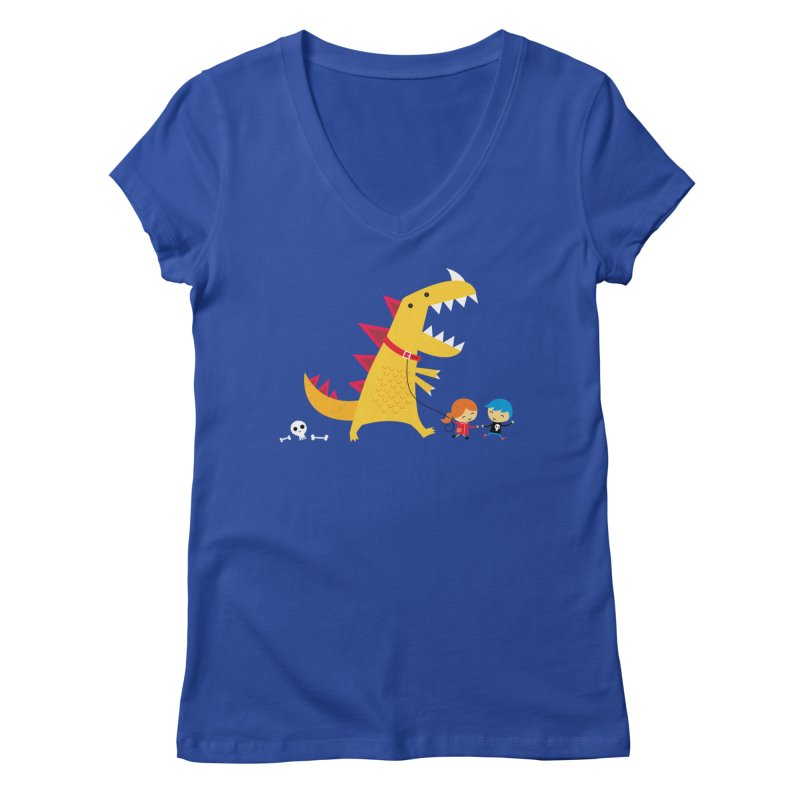 Dino Walk Women's Regular V-Neck by DinoMike's Artist Shop