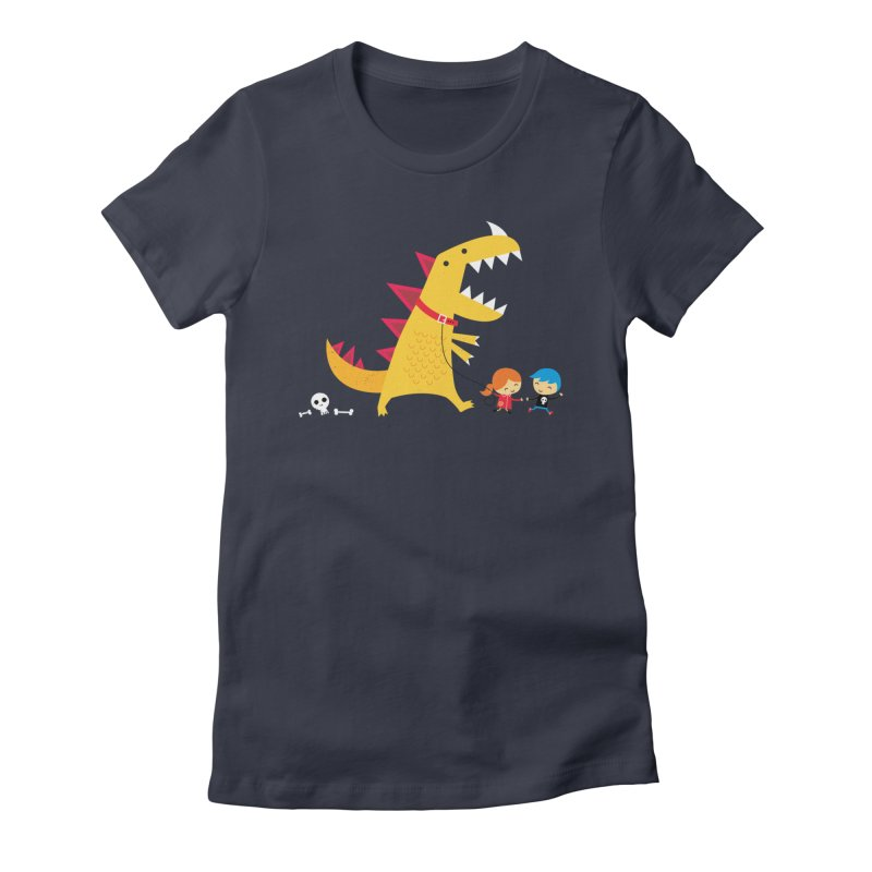 Dino Walk Women's Fitted T-Shirt by DinoMike's Artist Shop
