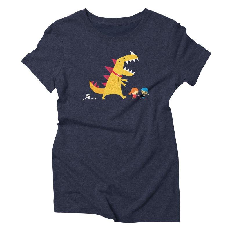 Dino Walk Women's Triblend T-Shirt by DinoMike's Artist Shop