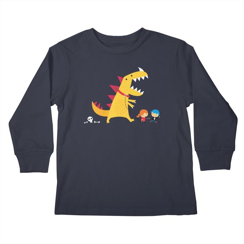 Dino Walk Kids Longsleeve T-Shirt by DinoMike's Artist Shop