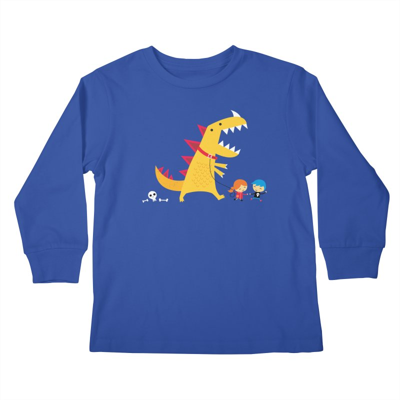 Dino Walk Kids Longsleeve T-Shirt by DinoMike's Artist Shop
