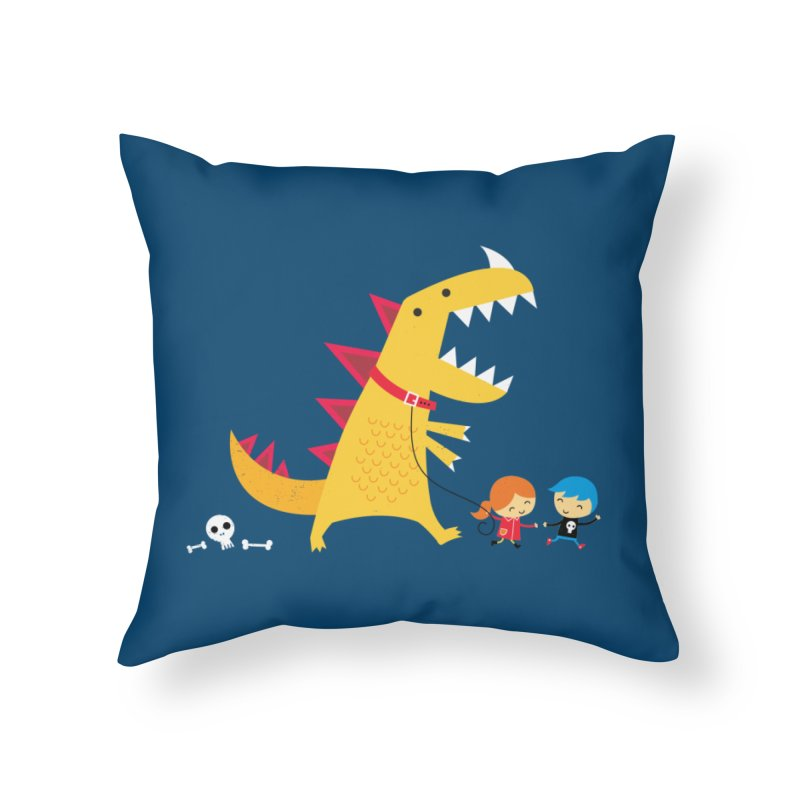 Dino Walk Home Throw Pillow by DinoMike's Artist Shop
