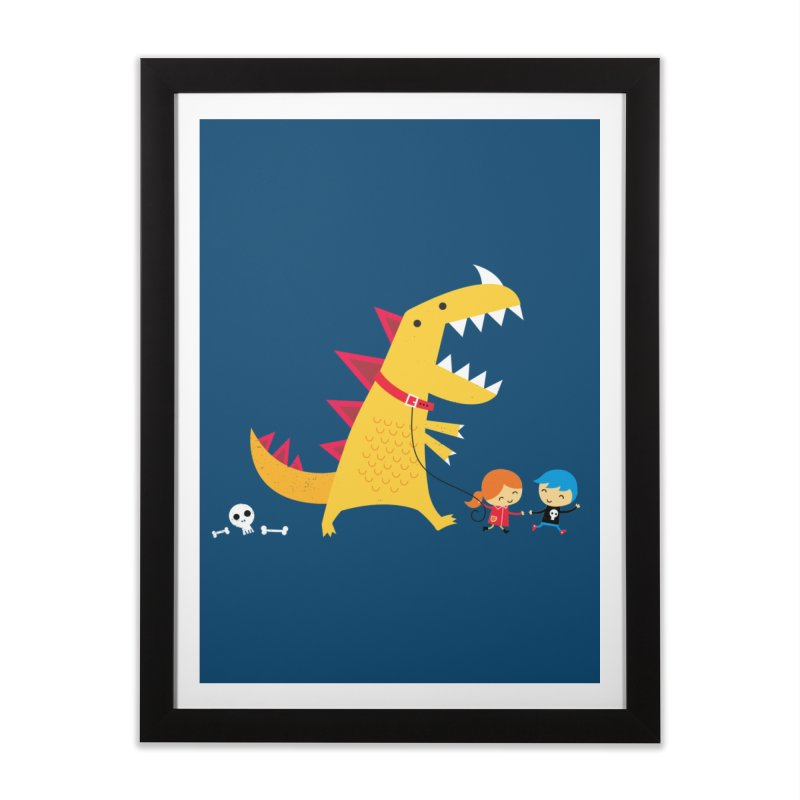 Dino Walk Home Framed Fine Art Print by DinoMike's Artist Shop
