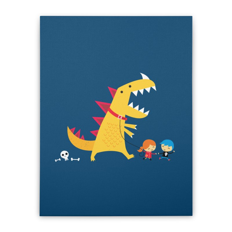 Dino Walk Home Stretched Canvas by DinoMike's Artist Shop